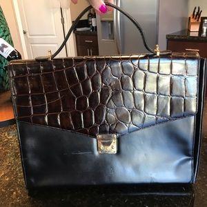 Franco Moritz Italy black brown leather brief case
